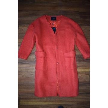 Rewelacyjny płaszcz Czesany Nowy Malinowy S