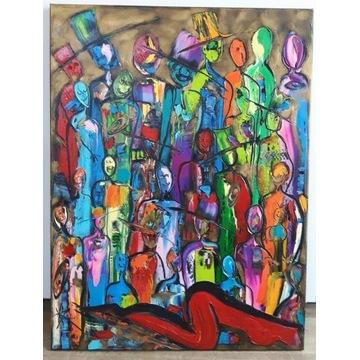 LUDZIE  60X80 obraz olejny faktura farby