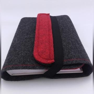 Okładka, etui na książkę z filcu melange czerwony