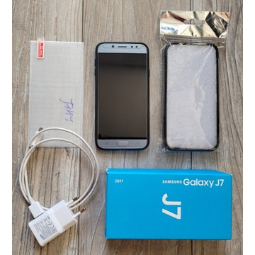 Samsung J7 2017 Dual Niebieski + 2etui, szkła