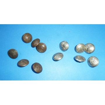 12 małych metalowych guzików PKP-6 niklowane