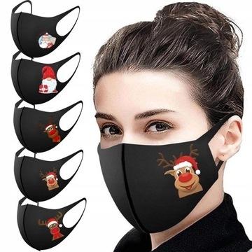 5stz Maski świąteczne wielokrotnego użytku