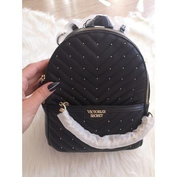 Czarny pikowany plecaczek Victorias Secret