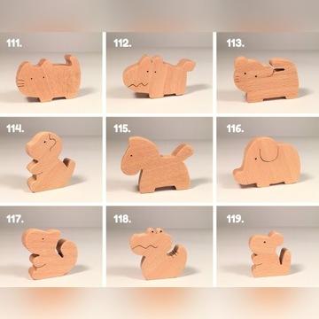 AMAMI drewniane zabawki. Figurki zwierząt.