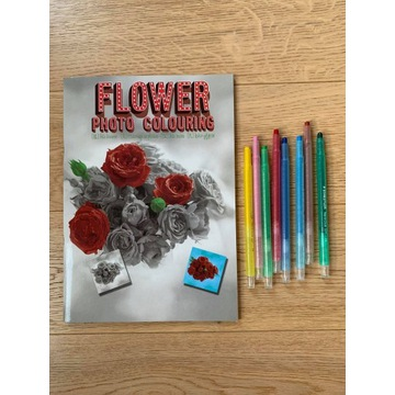 Kolorowanka zdjęcia kwiatów + gratis