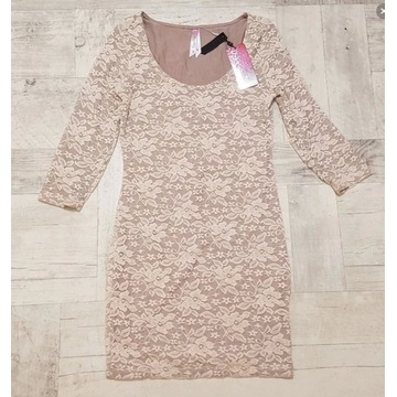 Sukienka koronkowa CoolCat beż/ecru 40