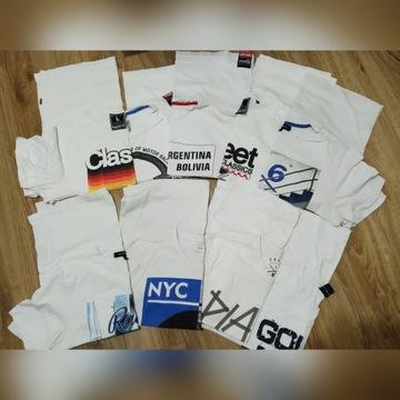 Zestaw 9 białych markowych koszulek męskich roz. L