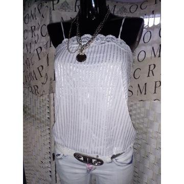 S 36 klasyczna biała koronkowa koszula paski top
