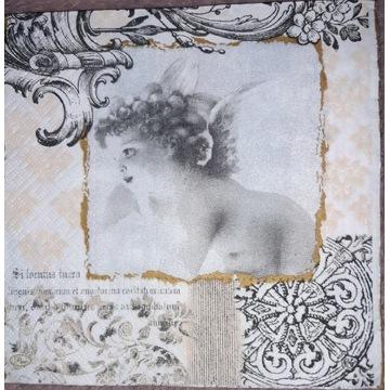 Serwetka decoupage 3 sztuki, aniolki retro różne