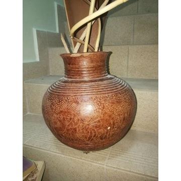 Duży wazon/ donica gliniany Unikat dekoracja 30 cm