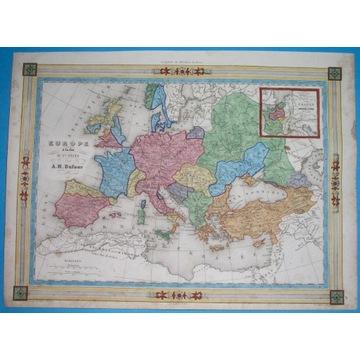 1848 MAPA POLSKA EUROPA średniowiecze X w oryginał