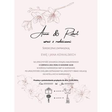 Zaproszenia ślubne folia soft touch mat