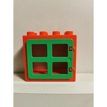 LEGO DUPLO czerwone okno zielone oryginalne 2x4