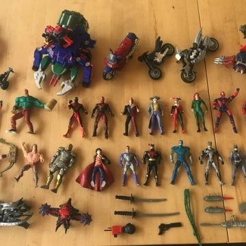 Figurki: Spiderman, Batman, Action Man + akcesoria
