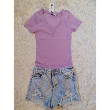 Koszulka prążek fiolet