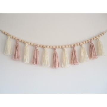 Różowa girlanda ze sznurka, makrama, pokój dziecka