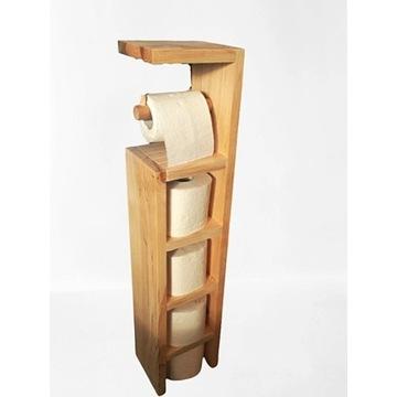 Półka drewniana na papier toaletowy, stojak, regał