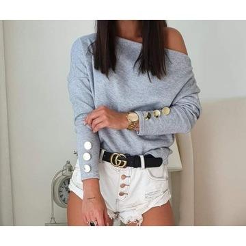 Sweterek bluzka  guziki szara s m l NOWA SKLEP