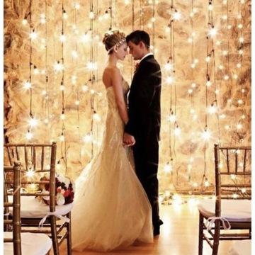 Kurtyna świetlna ścianka na wesele dekoracja ślub