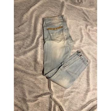 Jeansowe spodnie z zamkamki suwaki