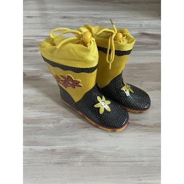 Żółto - czarne KALOSZE z brokatem roz. 31