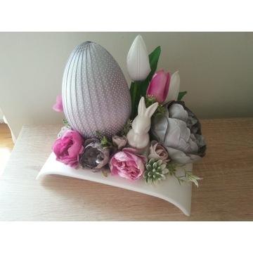 Stroik wielkanocny na stół, Wielkanoc, srebro-róż