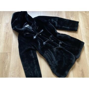 Futro płaszcz alpaka S 36 czarny ciepły zimowy