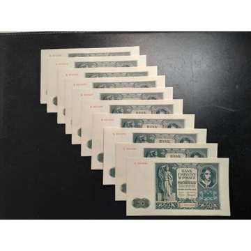 Banknoty 10x 50 zł 1941 r. UNC/UNC-