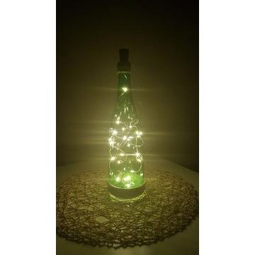 Ozdobna Dekoracyjna butelka lampion z lampkami LED