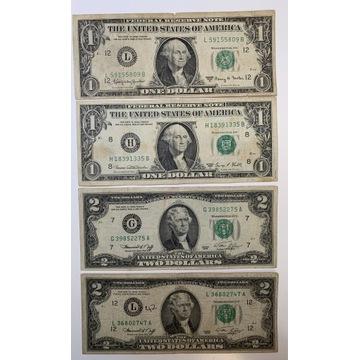 Zestaw banknotów:1 dolar 1963 i 1969,2 dolary1976
