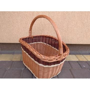 Koszyk wiklinowy na zakupy, grzyby, piknik