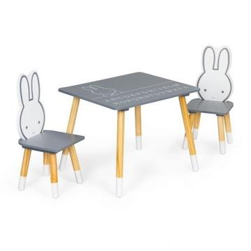 Zestaw dla dzieci stolik + 2 krzesełka króliczki z