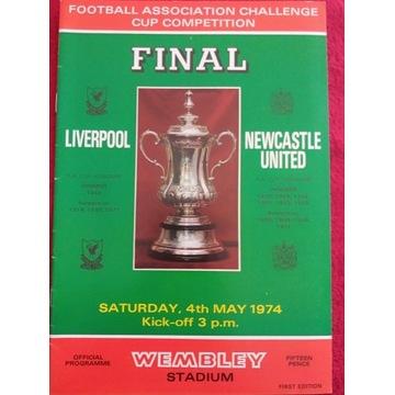 Program z meczu Liverpool - Newcastle United 1974