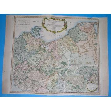 1754 MAPA POMORZE SZCZECIN GORZÓW GDAŃSK oryginał