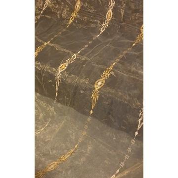 Złota, szyfonowa firanka z gipiurowym haftem