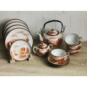 Zestaw porcelany Japonia Litofania Gejsza Geisha