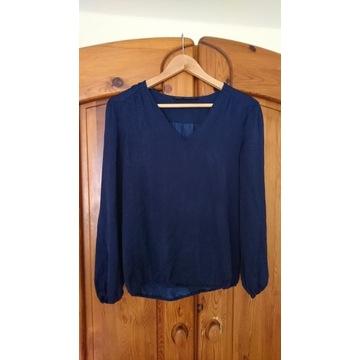 Granatowa bluzka z długim rękawem Zara M