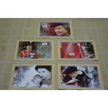 Kartki pocztowe z Królową Elżbietą +znaczki -kpl