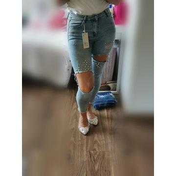 Spodnie dżinsowe laulia dziury xs 34 wysoki stan