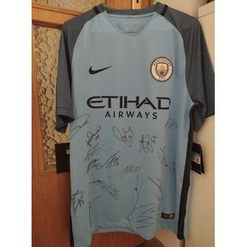 Koszulka Manchester City rozm. M z autografami