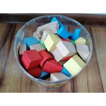 Nowe Klocki drewniane kolorowe 53 elementy