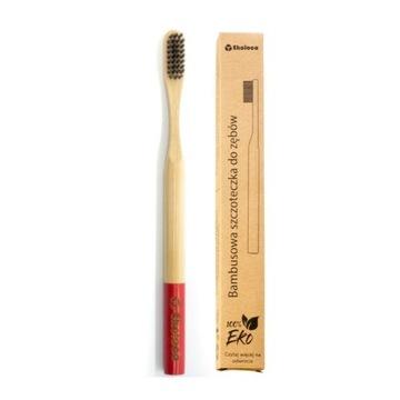 Bambusowa szczoteczka do zębów eko miękka czerwona