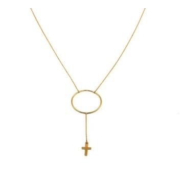 Złoty naszyjnik długi z krzyżykiem, 14 k, 585