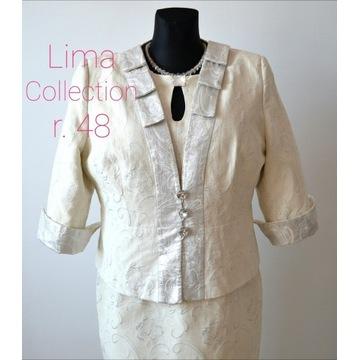 Sukienka komplet Lima Collection r 48 damski ecru