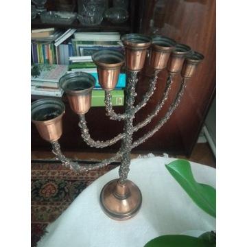 Menora 7 świec stary świecznik Judaica