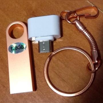 Pendrive 128 GB brelok z przejściówka do telefonu