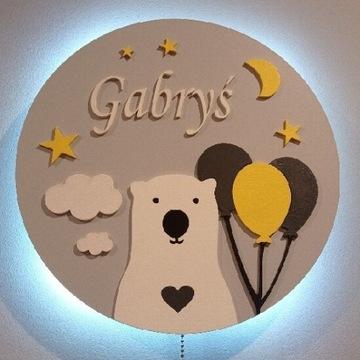 Lampka nocna LED z imieniem dziecka 30 cm