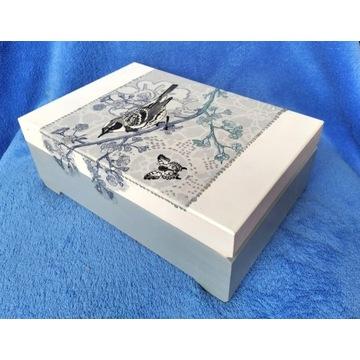 szkatułka pudełko toaletka z lusterkiem rękodzieło