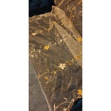Złota szyfonowa, firanka z gipiurowym haftem