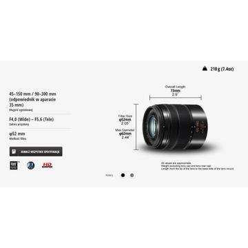 Obiektyw Panasonic Lumix 45-150 H-FS45150